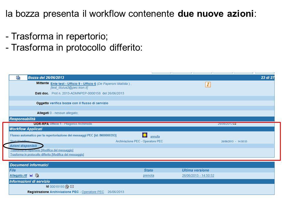 la bozza presenta il workflow contenente due nuove azioni: - Trasforma in repertorio; - Trasforma in protocollo differito: