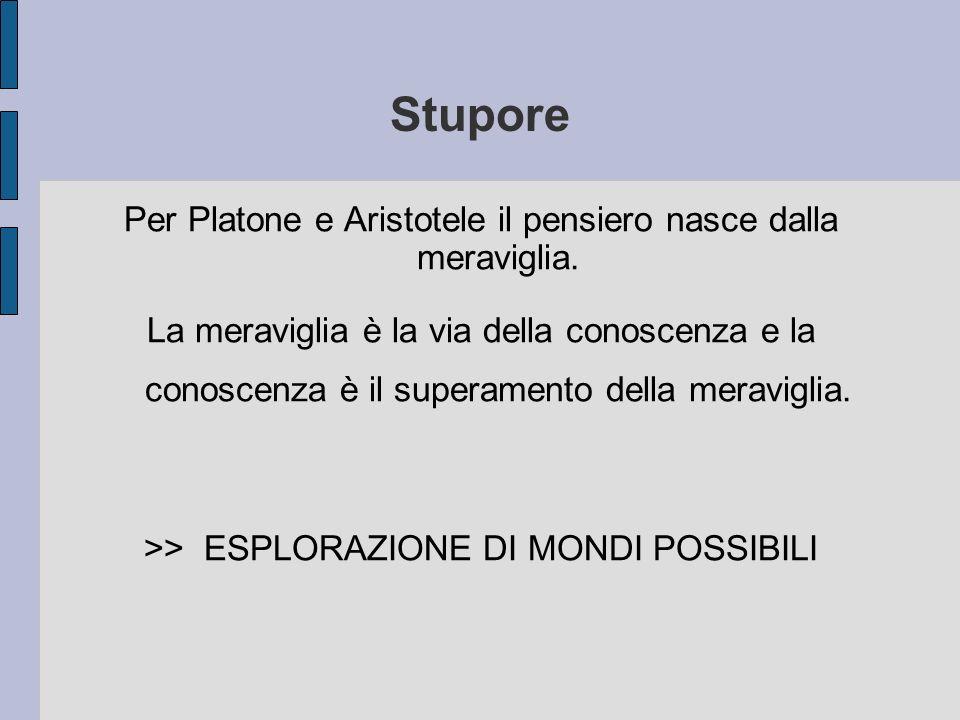 Stupore Per Platone e Aristotele il pensiero nasce dalla meraviglia. La meraviglia è la via della conoscenza e la conoscenza è il superamento della me