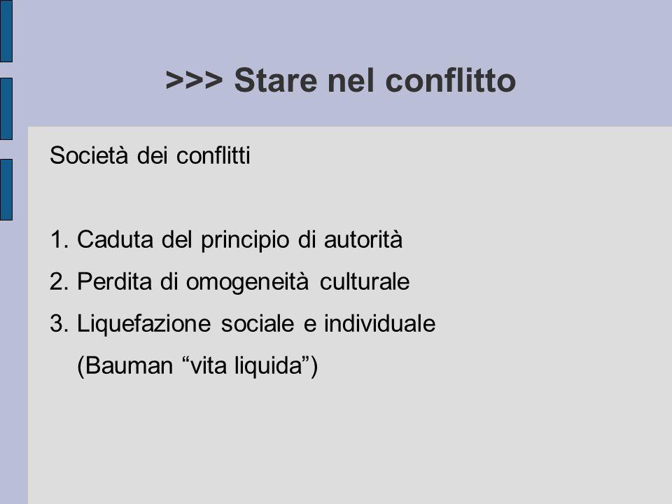 >>> Stare nel conflitto Società dei conflitti 1. Caduta del principio di autorità 2. Perdita di omogeneità culturale 3. Liquefazione sociale e individ