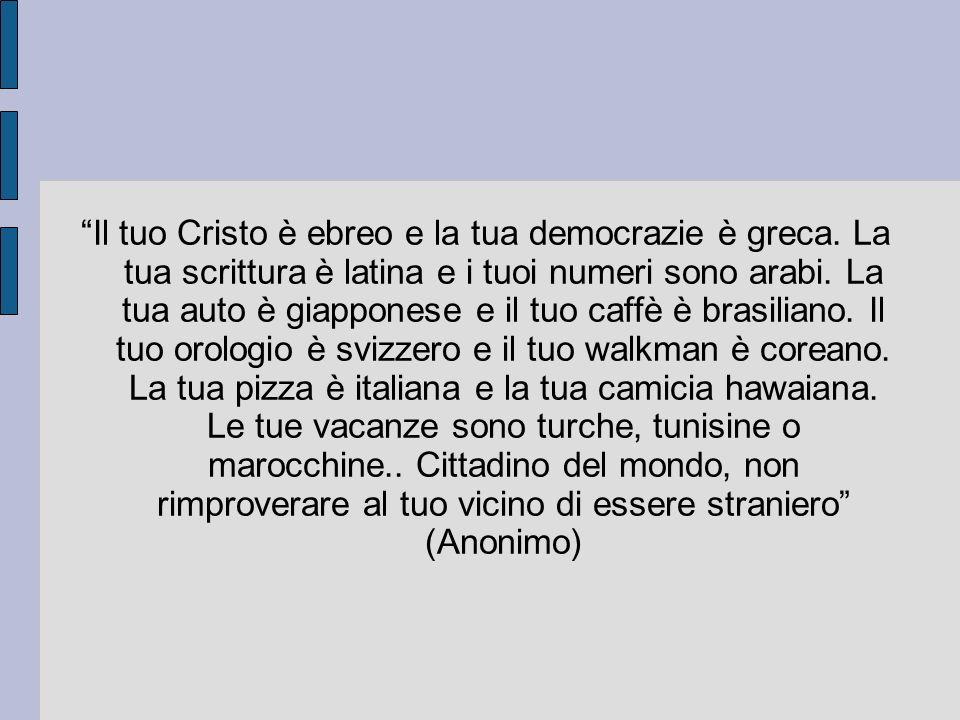 Il tuo Cristo è ebreo e la tua democrazie è greca. La tua scrittura è latina e i tuoi numeri sono arabi. La tua auto è giapponese e il tuo caffè è bra