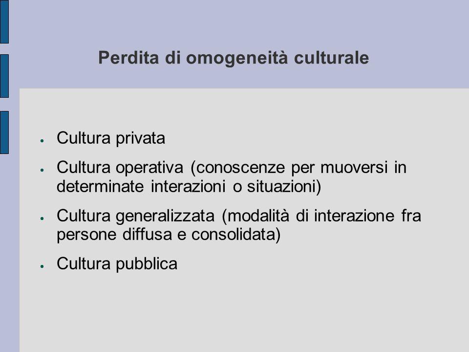 Perdita di omogeneità culturale Cultura privata Cultura operativa (conoscenze per muoversi in determinate interazioni o situazioni) Cultura generalizz