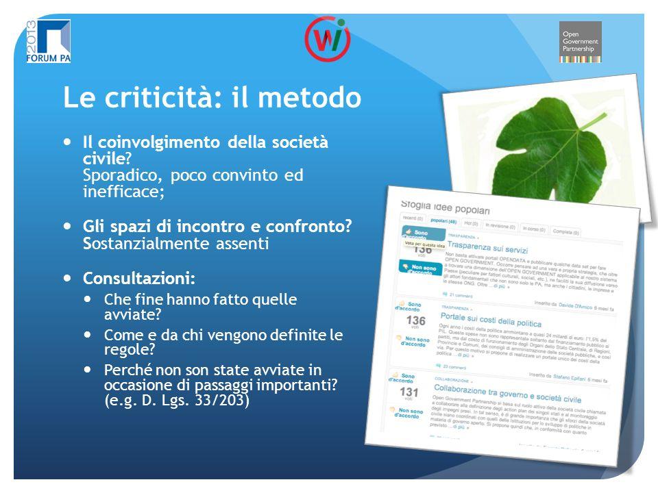 Le criticità: il metodo Il coinvolgimento della società civile.