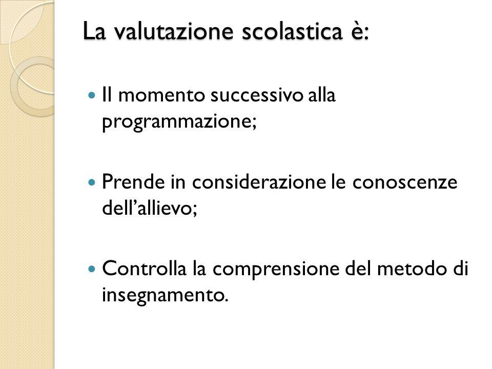 La valutazione scolastica è: Il momento successivo alla programmazione; Prende in considerazione le conoscenze dellallievo; Controlla la comprensione