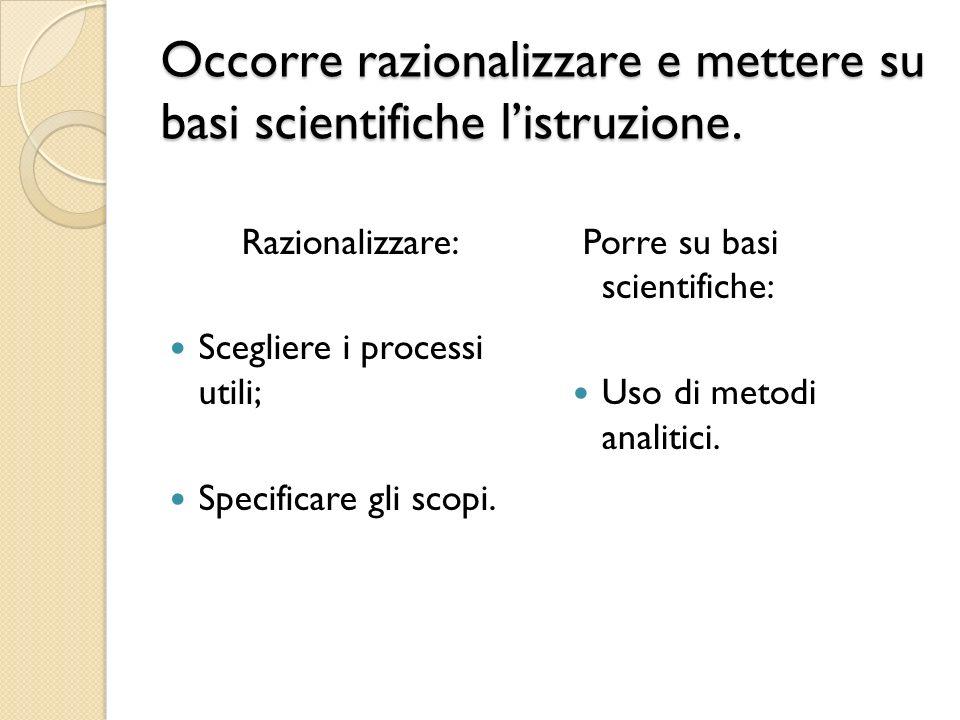Occorre razionalizzare e mettere su basi scientifiche listruzione. Razionalizzare: Scegliere i processi utili; Specificare gli scopi. Porre su basi sc