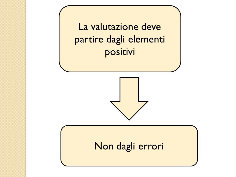 La valutazione deve partire dagli elementi positivi Non dagli errori