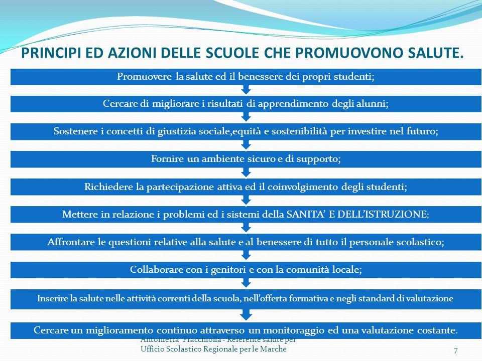 PRINCIPI ED AZIONI DELLE SCUOLE CHE PROMUOVONO SALUTE.