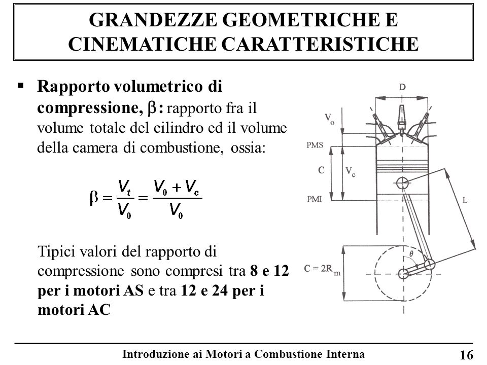 Introduzione ai Motori a Combustione Interna 16 GRANDEZZE GEOMETRICHE E CINEMATICHE CARATTERISTICHE Rapporto volumetrico di compressione, : rapporto f