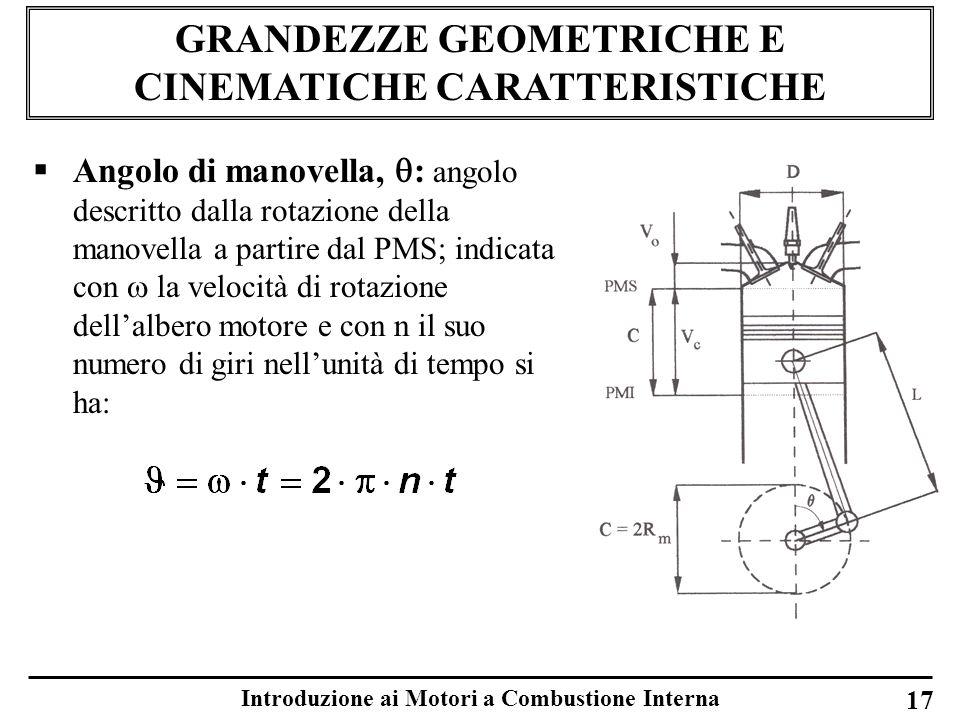Introduzione ai Motori a Combustione Interna 17 GRANDEZZE GEOMETRICHE E CINEMATICHE CARATTERISTICHE Angolo di manovella, : angolo descritto dalla rota