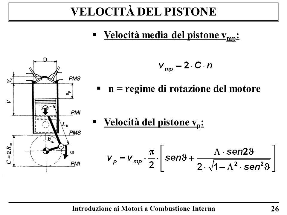 Introduzione ai Motori a Combustione Interna VELOCITÀ DEL PISTONE 26 Velocità media del pistone v mp : Velocità del pistone v p : n = regime di rotazi
