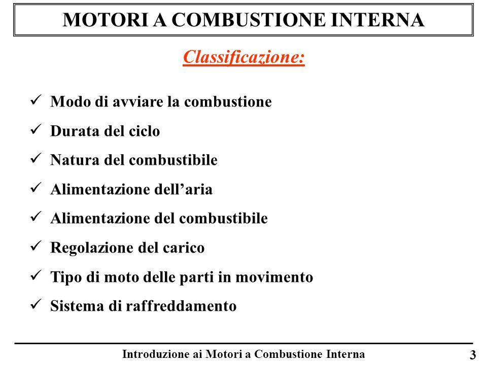 Introduzione ai Motori a Combustione Interna 3 MOTORI A COMBUSTIONE INTERNA Classificazione: Modo di avviare la combustione Durata del ciclo Natura de
