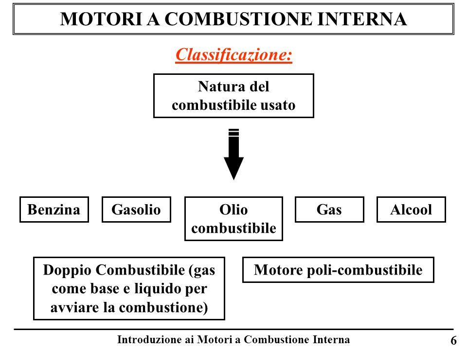 Introduzione ai Motori a Combustione Interna 6 MOTORI A COMBUSTIONE INTERNA Classificazione: Natura del combustibile usato BenzinaGasolioAlcoolOlio co