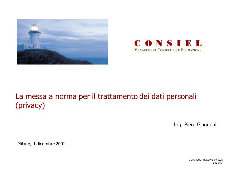 Convegno il fattore sicurezza slide n. 1 La messa a norma per il trattamento dei dati personali (privacy) Ing. Piero Giagnoni Milano, 4 dicembre 2001