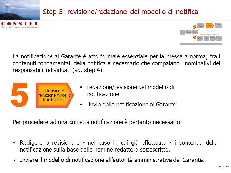 slide n. 10 Step 5: revisione/redazione del modello di notifica redazione/revisione del modello di notificazione invio della notificazione al Garante
