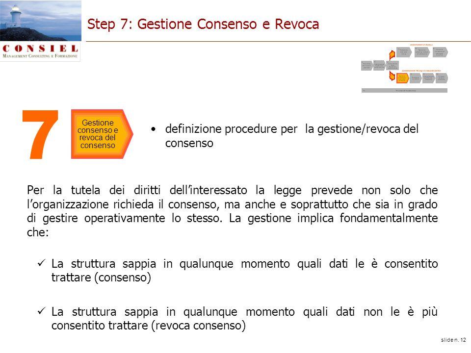slide n. 12 Step 7: Gestione Consenso e Revoca Per la tutela dei diritti dellinteressato la legge prevede non solo che lorganizzazione richieda il con