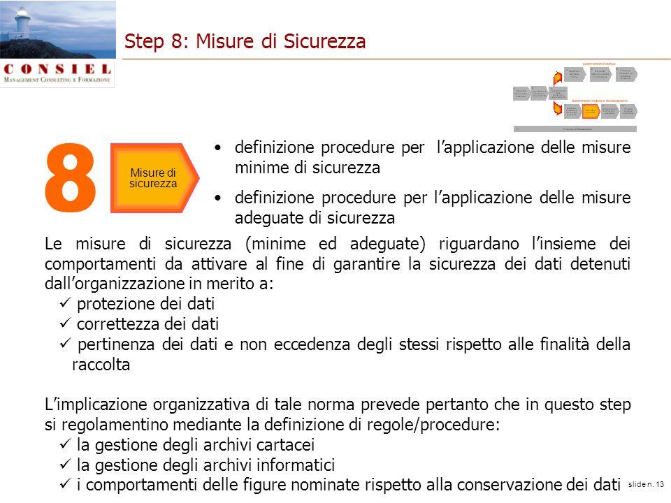 slide n. 13 Step 8: Misure di Sicurezza Le misure di sicurezza (minime ed adeguate) riguardano linsieme dei comportamenti da attivare al fine di garan