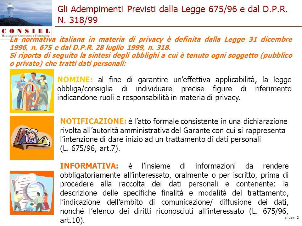 slide n. 2 Gli Adempimenti Previsti dalla Legge 675/96 e dal D.P.R. N. 318/99 La normativa italiana in materia di privacy è definita dalla Legge 31 di