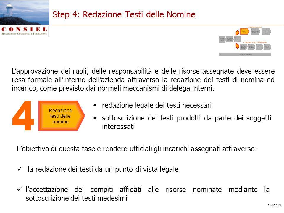 slide n. 9 Step 4: Redazione Testi delle Nomine Lobiettivo di questa fase è rendere ufficiali gli incarichi assegnati attraverso: la redazione dei tes