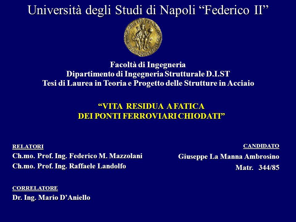 Università degli Studi di Napoli Federico II Dipartimento di Ingegneria Strutturale D.I.ST VITA RESIDUA A FATICA DEI PONTI FERROVIARI CHIODATI CANDIDA