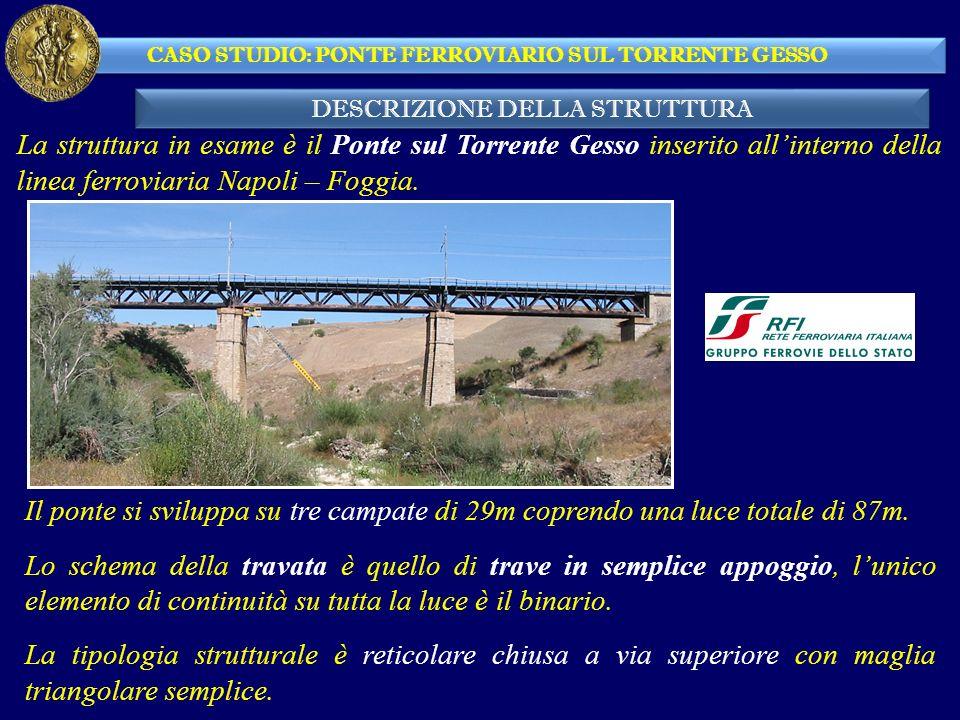 DESCRIZIONE DELLA STRUTTURA CASO STUDIO: PONTE FERROVIARIO SUL TORRENTE GESSO La struttura in esame è il Ponte sul Torrente Gesso inserito allinterno della linea ferroviaria Napoli – Foggia.