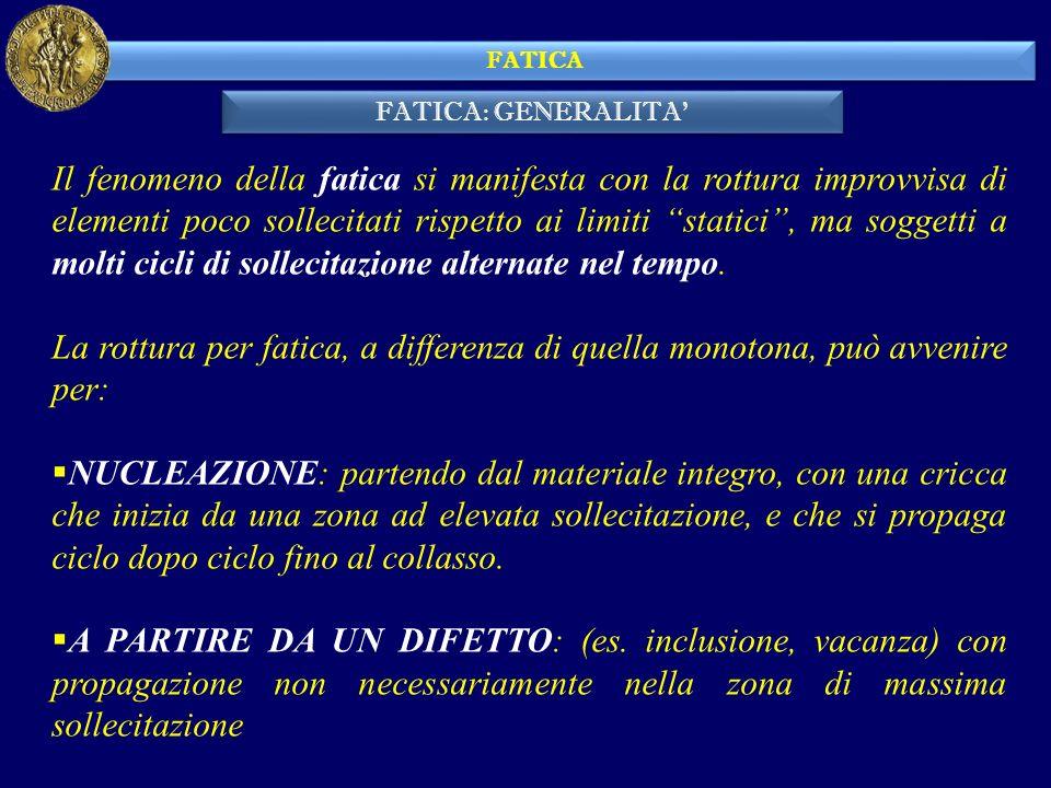 FATICA: GENERALITA FATICA Il fenomeno della fatica si manifesta con la rottura improvvisa di elementi poco sollecitati rispetto ai limiti statici, ma