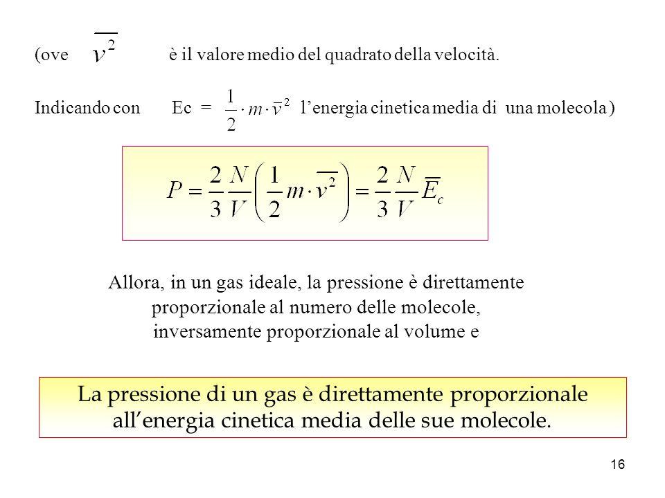 15 e le tre componenti v x, v y, v z sono mediamente equivalenti, cioè, ogni direzione è ugualmente probabile, (teorema di Pitagora) avremo Siccome v x è una delle tre componenti della velocità v vxvx vyvy vzvz v