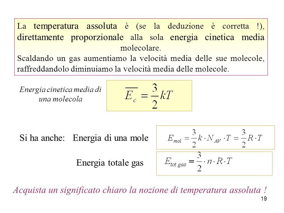 18 Teoria Cinetica (ipotesi teorica) Equazione di stato dei gas (risultato sperimentale) Energia cinetica e temperatura