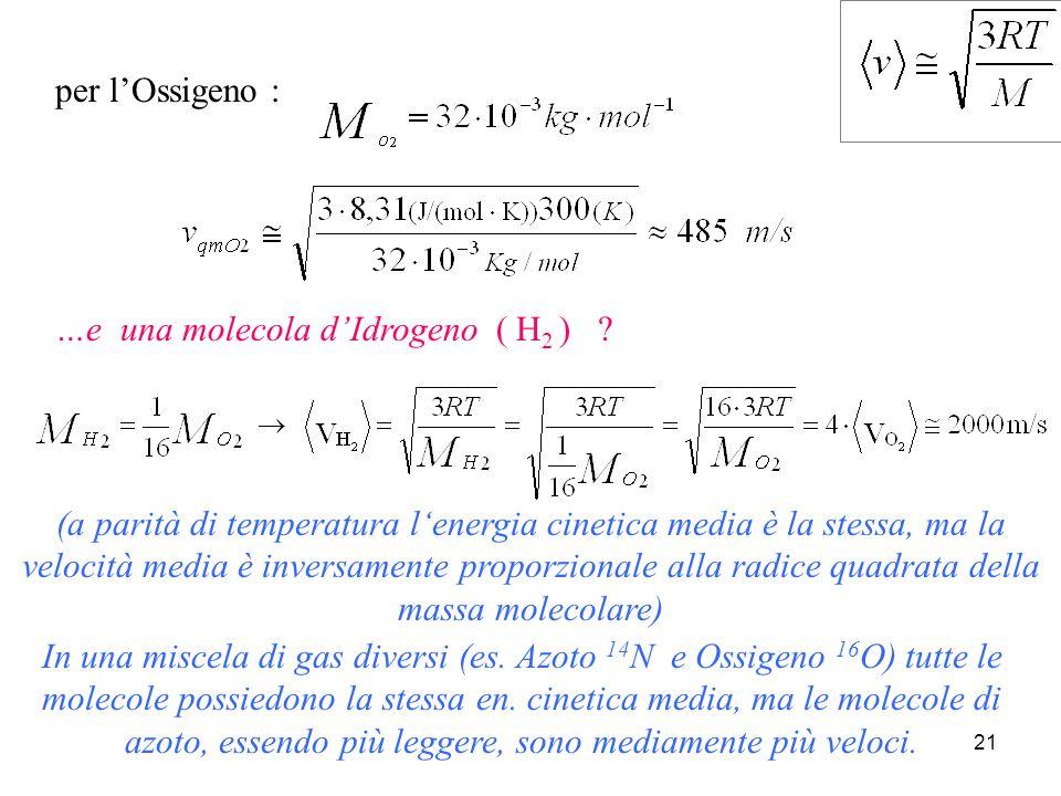 20 Calcolo delle velocità molecolari A che velocità si muove, in media, una molecola di Ossigeno ( O 2 ) alla temperatura di 27 °C .