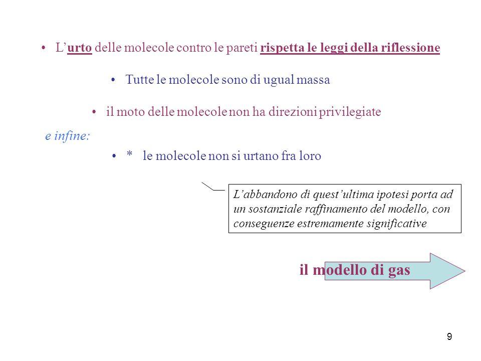 8 Il modello meccanico di un gas Al contrario di quel che avviene per i liquidi ed i solidi, il comportamento dei gas appare indipendente dalla specie chimica.