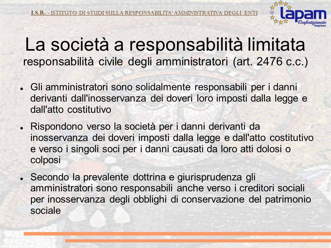 I.S.R.- ISTITUTO DI STUDI SULLA RESPONSABILITA AMMINISTRATIVA DEGLI ENTI Art.