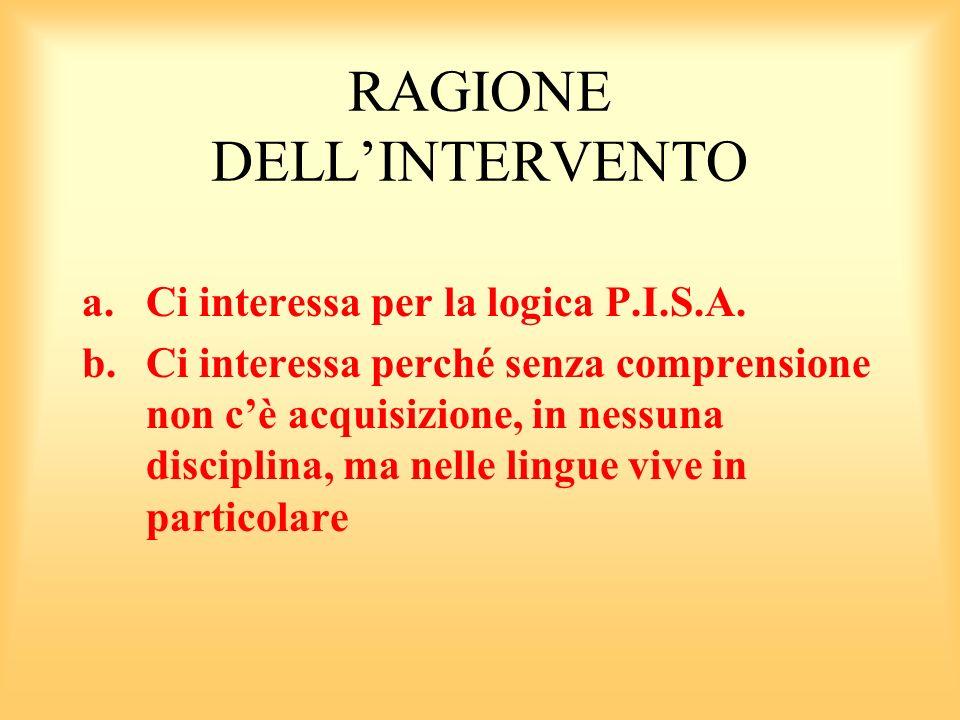 RAGIONE DELLINTERVENTO a.Ci interessa per la logica P.I.S.A.