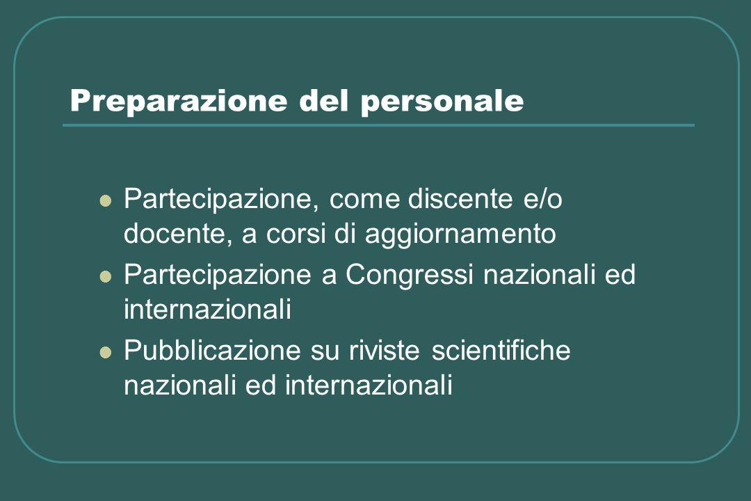 Preparazione del personale Partecipazione, come discente e/o docente, a corsi di aggiornamento Partecipazione a Congressi nazionali ed internazionali