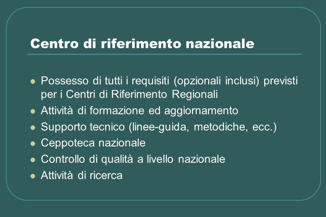 Centro di riferimento nazionale Possesso di tutti i requisiti (opzionali inclusi) previsti per i Centri di Riferimento Regionali Attività di formazion