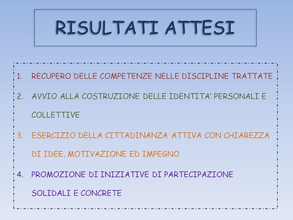 RISULTATI ATTESI 1.RECUPERO DELLE COMPETENZE NELLE DISCIPLINE TRATTATE 2.AVVIO ALLA COSTRUZIONE DELLE IDENTITA PERSONALI E COLLETTIVE 3.ESERCIZIO DELL