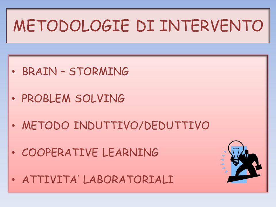 METODOLOGIE DI INTERVENTO BRAIN – STORMING PROBLEM SOLVING METODO INDUTTIVO/DEDUTTIVO COOPERATIVE LEARNING ATTIVITA LABORATORIALI