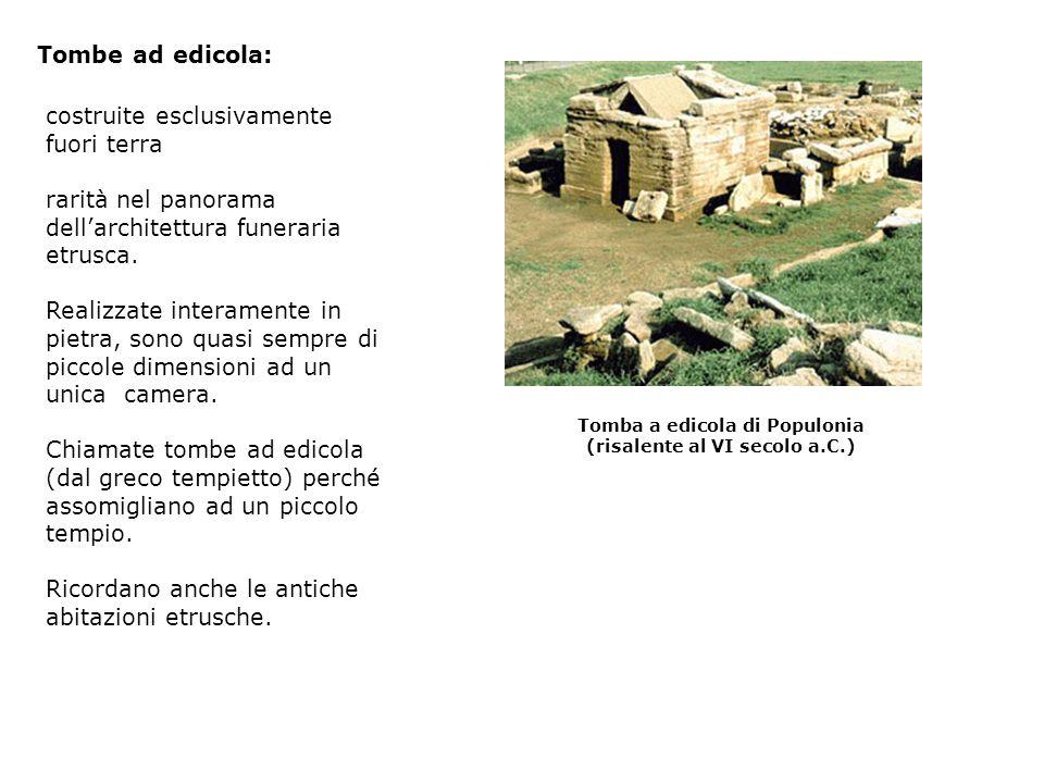 costruite esclusivamente fuori terra rarità nel panorama dellarchitettura funeraria etrusca. Realizzate interamente in pietra, sono quasi sempre di pi
