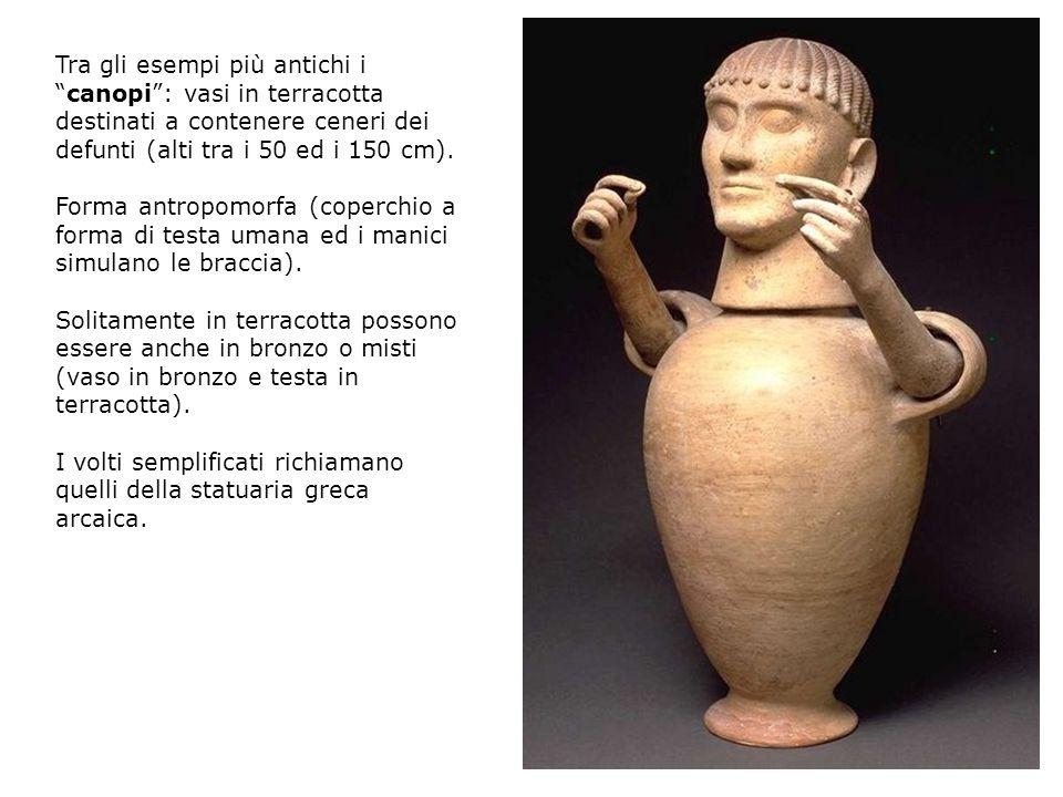 Tra gli esempi più antichi icanopi: vasi in terracotta destinati a contenere ceneri dei defunti (alti tra i 50 ed i 150 cm). Forma antropomorfa (coper