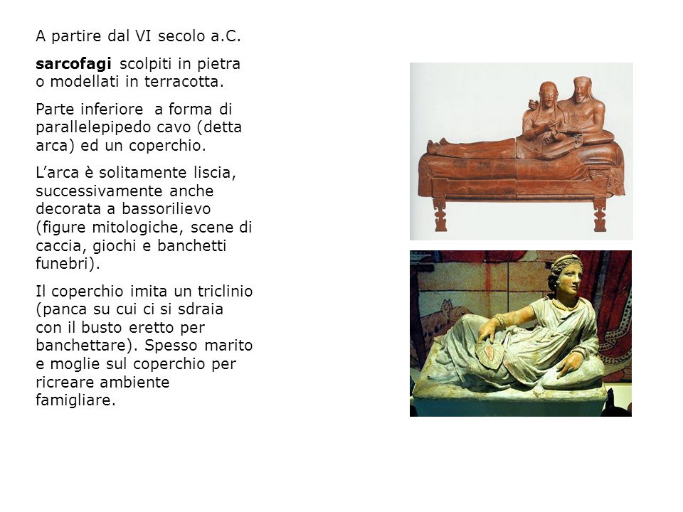 A partire dal VI secolo a.C. sarcofagi scolpiti in pietra o modellati in terracotta. Parte inferiore a forma di parallelepipedo cavo (detta arca) ed u