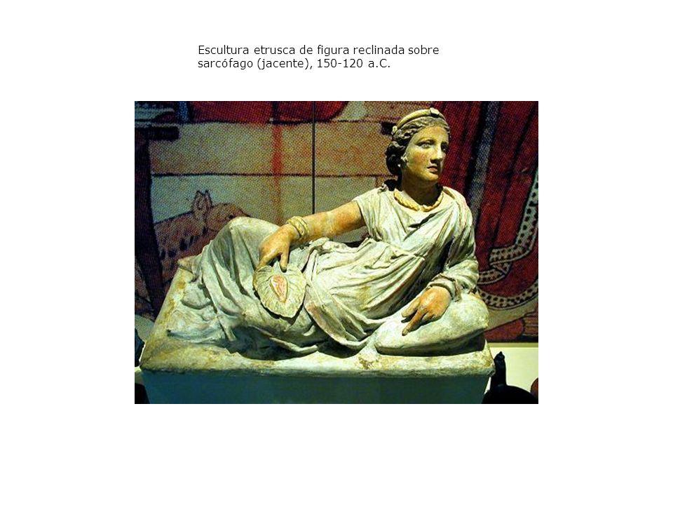 Escultura etrusca de figura reclinada sobre sarcófago (jacente), 150-120 a.C.