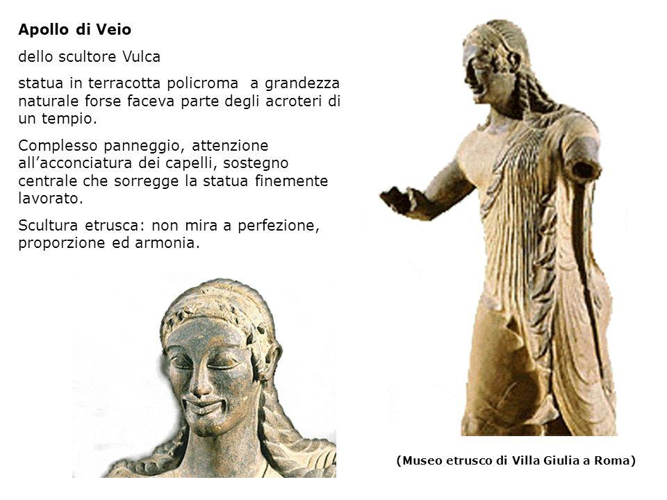 (Museo etrusco di Villa Giulia a Roma) Apollo di Veio dello scultore Vulca statua in terracotta policroma a grandezza naturale forse faceva parte degli acroteri di un tempio.