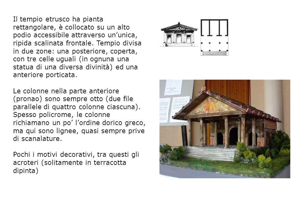 Il tempio etrusco ha pianta rettangolare, è collocato su un alto podio accessibile attraverso ununica, ripida scalinata frontale.