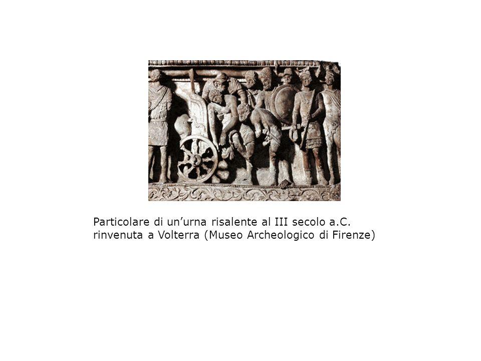 Particolare di unurna risalente al III secolo a.C. rinvenuta a Volterra (Museo Archeologico di Firenze)