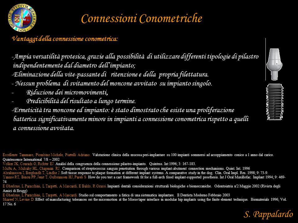 Vantaggi della connessione conometrica: -Ampia versatilità protesica, grazie alla possibilità di utilizzare differenti tipologie di pilastro indipende