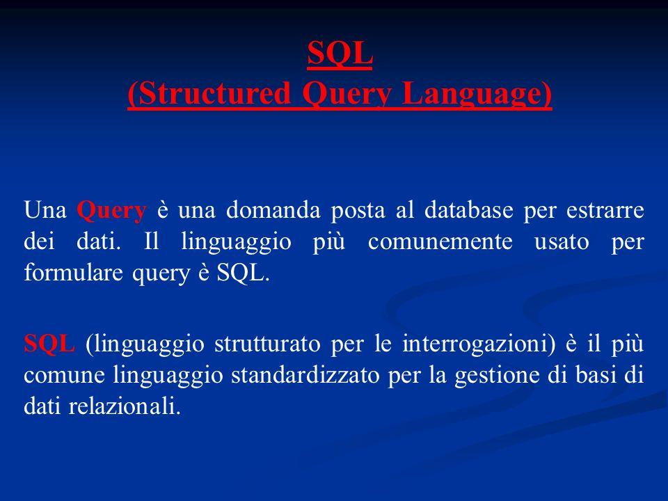 SQL (Structured Query Language) Una Query è una domanda posta al database per estrarre dei dati.
