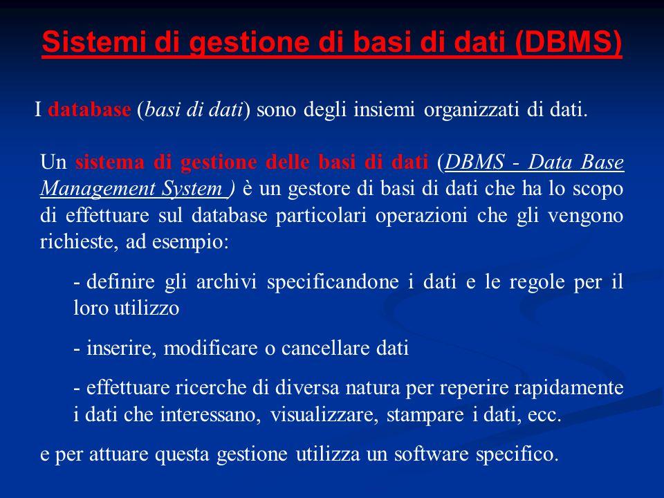 Sistemi di gestione di basi di dati (DBMS) I database (basi di dati) sono degli insiemi organizzati di dati. Un sistema di gestione delle basi di dati