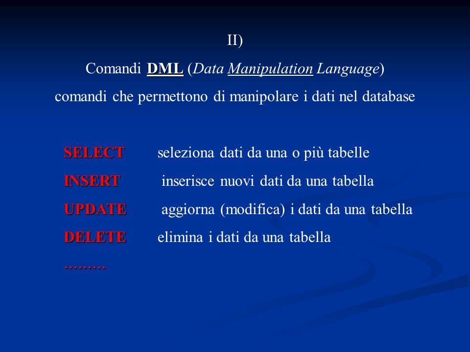 II) DML Comandi DML (Data Manipulation Language) comandi che permettono di manipolare i dati nel database SELECT SELECTseleziona dati da una o più tabelle INSERT INSERT inserisce nuovi dati da una tabella UPDATE UPDATE aggiorna (modifica) i dati da una tabella DELETE DELETEelimina i dati da una tabella………
