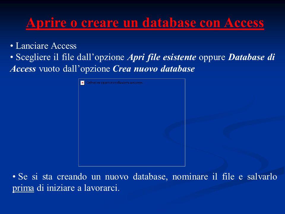 Aprire o creare un database con Access Lanciare Access Scegliere il file dallopzione Apri file esistente oppure Database di Access vuoto dallopzione C