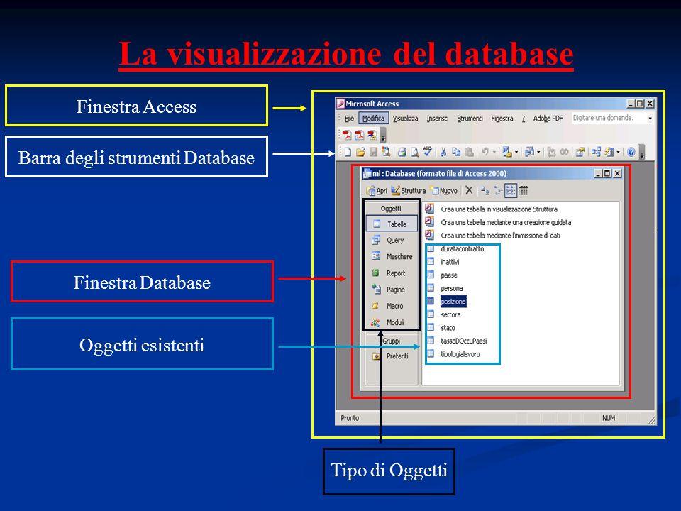 La visualizzazione del database Barra degli strumenti Database Finestra Access Finestra Database Tipo di Oggetti Oggetti esistenti