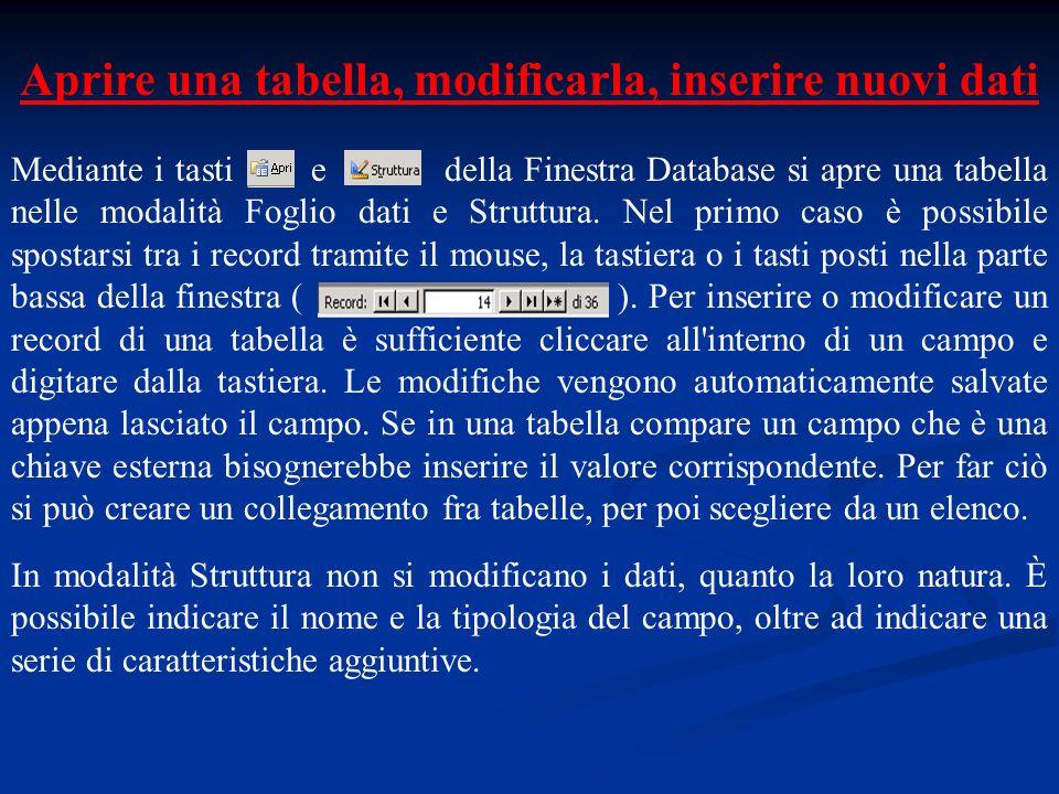 Aprire una tabella, modificarla, inserire nuovi dati Mediante i tasti e della Finestra Database si apre una tabella nelle modalità Foglio dati e Struttura.
