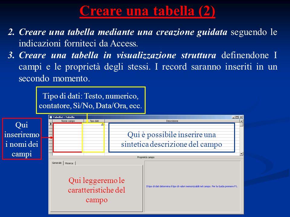 Creare una tabella (2) 2.Creare una tabella mediante una creazione guidata seguendo le indicazioni forniteci da Access. 3.Creare una tabella in visual