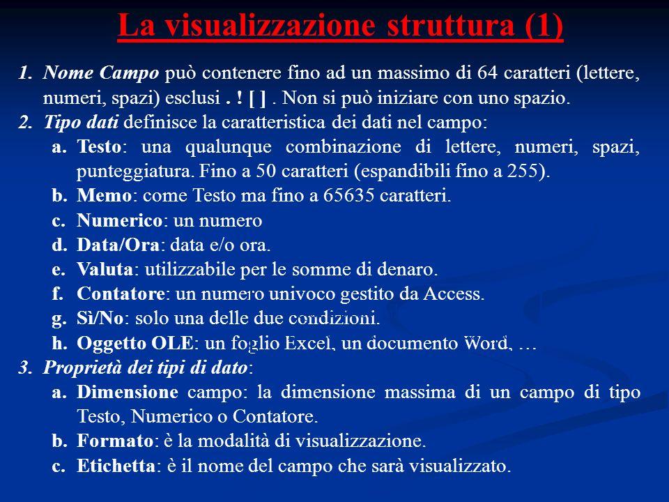 La visualizzazione struttura (1) 1.Nome Campo può contenere fino ad un massimo di 64 caratteri (lettere, numeri, spazi) esclusi. ! [ ]. Non si può ini